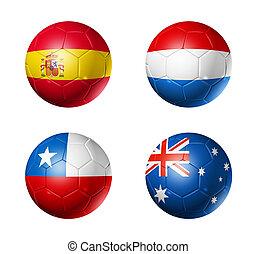 brasil, campeonato do mundo, 2014, grupo, b, bandeiras, ligado, bolas futebol