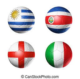 brasil, campeonato do mundo, 2014, grupo, d, bandeiras, ligado, bolas futebol