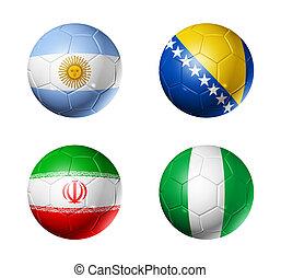 brasil, campeonato do mundo, 2014, grupo, f, bandeiras, ligado, bolas futebol