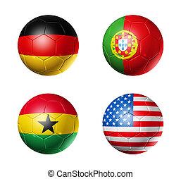 brasil, campeonato do mundo, 2014, grupo, g, bandeiras, ligado, bolas futebol