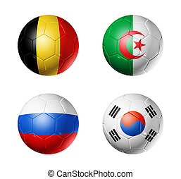 brasil, campeonato do mundo, 2014, grupo, h, bandeiras, ligado, bolas futebol