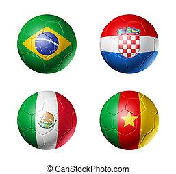 brasil, campeonato do mundo, 2014, grupo, um, bandeiras, ligado, bolas futebol