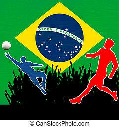 brasil, campeonato, fútbol, ilustración, bandera, vector...
