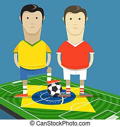 brasil, campeonato, illustration., dejar, mundo, fósforo del fútbol