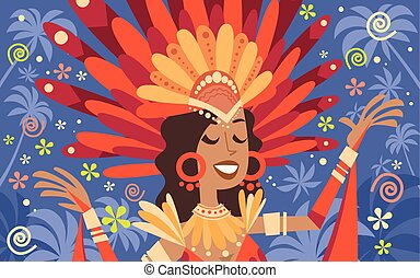 brasil, carnaval, latim, mulher, desgaste, luminoso, traje,...