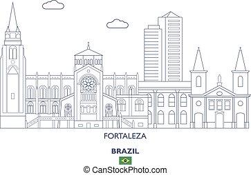 brasil, cidade, fortaleza, skyline