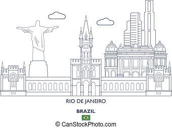 brasil, cidade, janeiro, de, rio, skyline