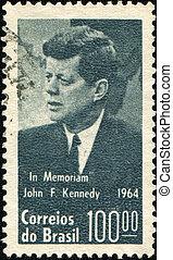 President John F. Kennedy - BRASIL - CIRCA 1964: A stamp...
