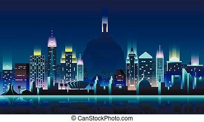 brasil, ciudad, noche, neón, estilo, arquitectura,...
