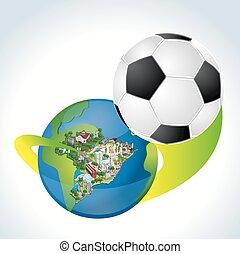 brasil, con, un, pelota del fútbol, comi