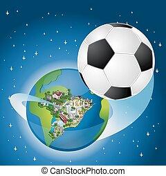 brasil, con, un, pelota del fútbol