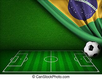 brasil, conceito, copo, fundo, mundo, futebol