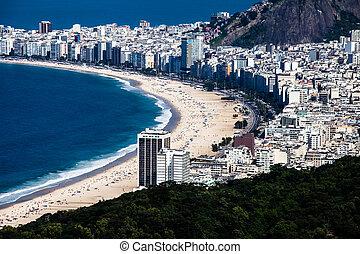 brasil, copacabana, janeiro, playa, de, río