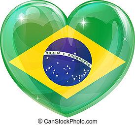 brasil, coração, bandeira, amor