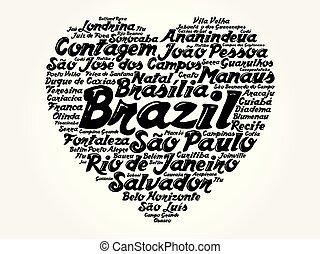 brasil, corazón, palabra, lista, ciudades, nube