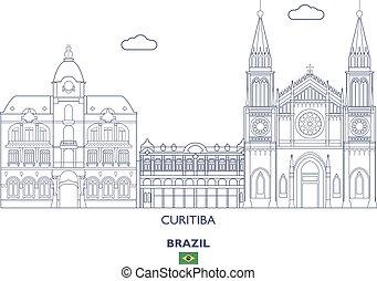 brasil, curitiba, skyline, cidade