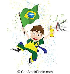 brasil, deporte, ventilador, con, bandera, y, cuerno