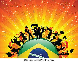brasil, deporte, ventilador, multitud, con, bandera