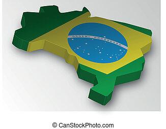 brasil, dimensional, mapa, três