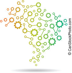 brasil, engranaje, mapa, logotipo, imagen