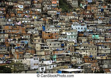 Brasil, Favela Cantagalo - Brasil, Rio de Janeiro, view of...