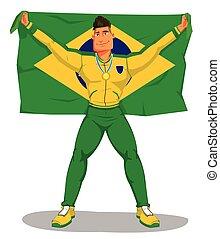 brasil, flag., aislado, championship., jugadores, vector, celebrar, levantar