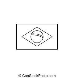 Brasil flag icon, outline style