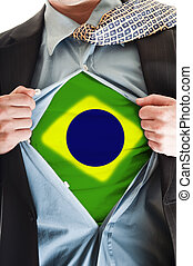 Brasil flag on shirt - Business man showing Brasil flag...