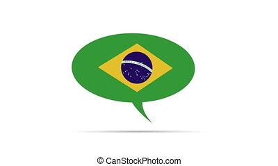 Brasil Flag - Spinning Brasil Flag Speech Bubble