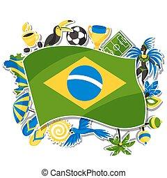 brasil, fundo, com, adesivo, objetos, e, cultural, símbolos