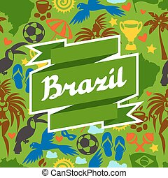 brasil, fundo, com, stylized, objetos, e, cultural, símbolos
