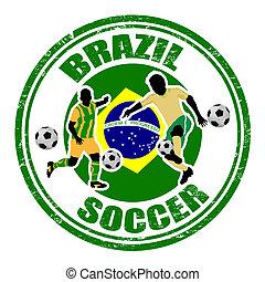 brasil, futbol, estampilla