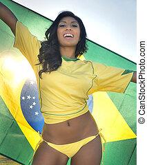 brasil, futbol, ventilador, fútbol, feliz