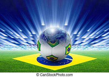 brasil, globo, bandera, estadio, pelota del fútbol