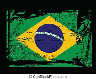 brasil, grunge, vetorial, bandeira