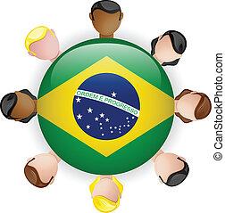 brasil, grupo, gente, botón, bandera, trabajo en equipo