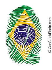 brasil, impresión, dedo