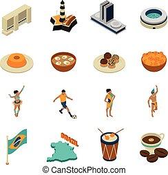 brasil, isométrico, conjunto, iconos