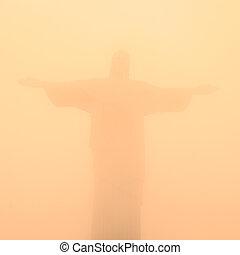 brasil, janeiro, cristo, redentor, de, río, estatua