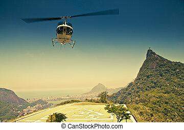 brasil, janeiro, de, aire, río, frente, helicóptero,...