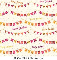 brasil, junina, festa, fiesta, -, junio, ilustración