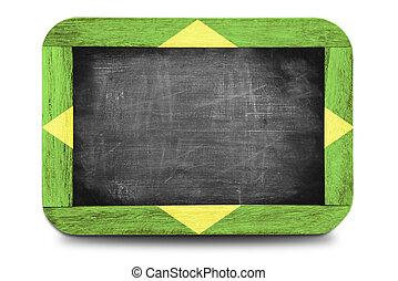 brasil, keretezett, lobogó, chalkboard, kicsi, 2014, futball