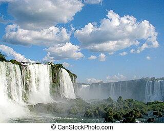 Brasil, lado,  iguazu, cachoeiras, ensolarado, Dia, Brasileiro, visto