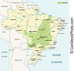 brasil, mapa, cerrado, paisaje, sabana