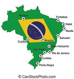 brasil, mapa, futbol, 2014