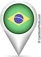 brasil, mapa, ilustração, bandeira, vetorial, ponteiro, shadow.
