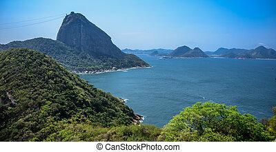 brasil, montaña, duque, janeiro, forte, de, sugarloaf, río,...