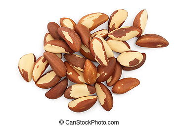 Brasil nuts heap isolated on white background with clipping ...