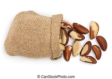 Brasil nuts in sackcloth bag isolated on white background ...