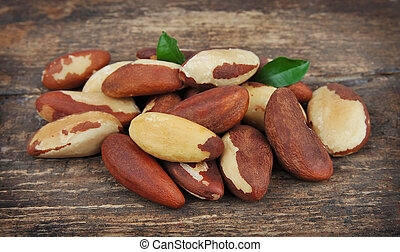 Brasil nuts with leafs - Bertholletia. Brazil nuts with ...